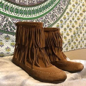 Shoes - Makalu Brown Fringe Moccasin Booties